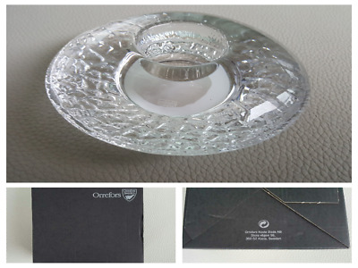 ORREFORS 'Discus' Crystal Candle Holder With Box. Brand New And Never Used