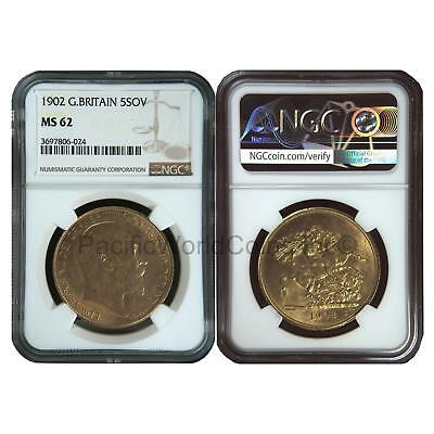 Great Britain 1902 5 Sovereign Gold NGC MS62 SKU#6420