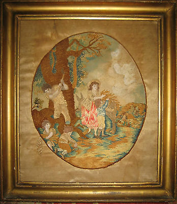 ANTIQUE Embroidered and Painted Silk Picture SAMPLER FARM SCENE Needlework