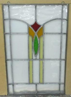 "MID SIZED OLD ENGLISH LEADED STAINED GLASS WINDOW Towering Abstract 17"" x 26.5"""