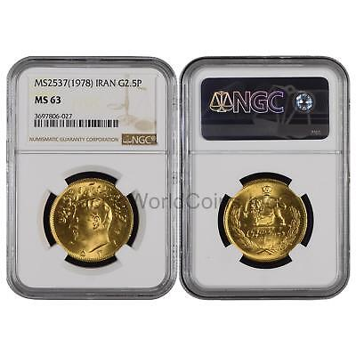 Iran 1978 (MS2537) 2.5 Pahlavi Gold NGC MS63 SKU#6431