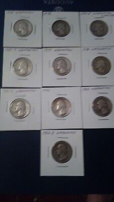 Lot of 10 silver early date Washington quarters free shipping
