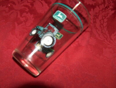 "John Deere   Drinking Glass Clear 5.75"" Green And Yellow c14"