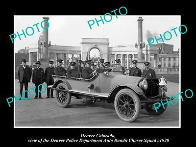 OLD LARGE HISTORIC PHOTO OF DENVER COLORADO, THE POLICE AUTO BANDIT SQUAD c1920