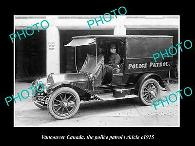 OLD LARGE HISTORIC PHOTO OF VANCOUVER CANADA, THE POLICE PATROL CAR c1915
