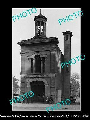 OLD HISTORIC PHOTO OF SACRAMENTO CALIFORNIA, YOUNG AMERICA FIRE STATION c1930