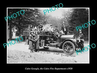 OLD LARGE HISTORIC PHOTO OF CAIRO GEORGIA, THE FIRE DEPARTMENT & TRUCK c1920