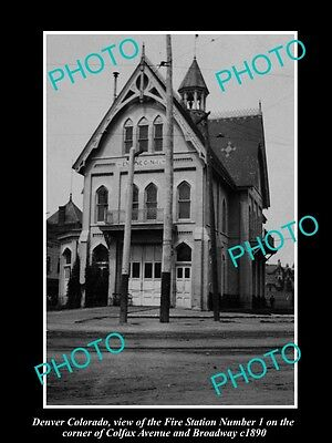OLD LARGE HISTORIC PHOTO OF DENVER COLORADO, No 1 FIRE DEPARTMENT STATION c1890