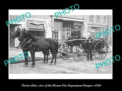 OLD LARGE HISTORIC PHOTO OF WESTON OHIO, THE WESTON FIRE DEPARTMENT c1910