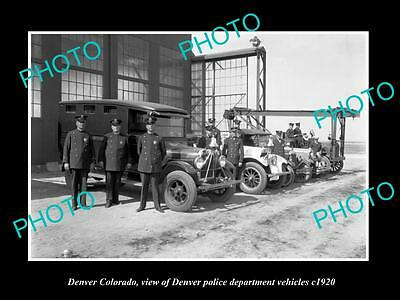 OLD LARGE HISTORIC PHOTO OF DENVER COLORADO, THE POLICE DEPT VEHICLES c1920
