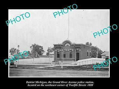 OLD LARGE HISTORIC PHOTO OF DETROIT MICHIGAN, GRAND RIVER POLICE STATION c1880