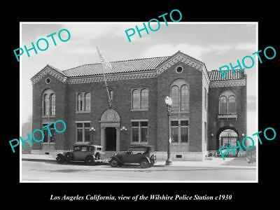 OLD LARGE HISTORIC PHOTO OF LOS ANGELES, THE LAPD WILSHIRE POLICE STATION c1930