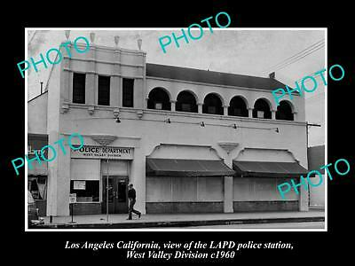 OLD HISTORIC PHOTO OF LOS ANGELES, THE LAPD POLICE STATION, WEST VALLEY c1960