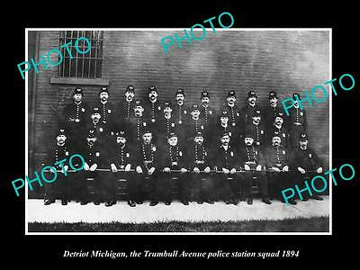 OLD LARGE HISTORIC PHOTO OF DETROIT MICHIGAN, TRUMBELL Ave POLICE SQUAD c1894