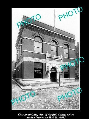 OLD LARGE HISTORIC PHOTO OF CINCINNATI OHIO, THE 5th DIST POLICE STATION c1915
