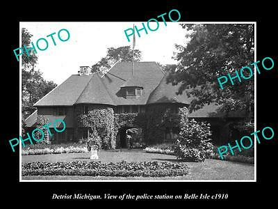 Old Large Historic Photo Of Detroit Michigan, The Belle Isle Police Station 1910