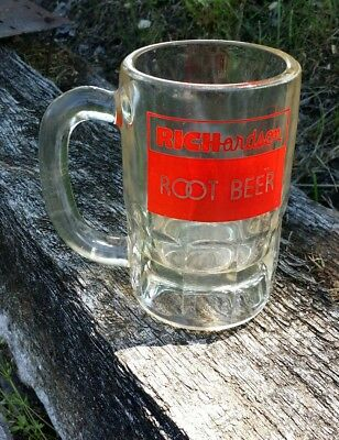 "vintage root beer mugs Richardson clear red logo advertising tall 5 1/4"" glass"
