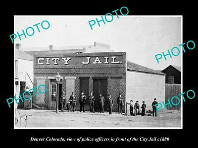 OLD LARGE HISTORIC PHOTO OF DENVER COLORADO, THE POLICE CITY JAIL c1880