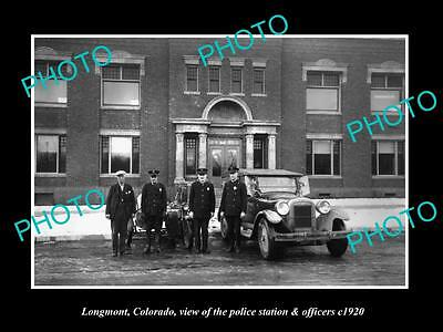 OLD LARGE HISTORIC PHOTO OF LONGMONT COLORADO, POLICE STATION & OFFICERS c1920