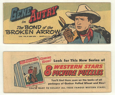 "Rare 1950 Quaker Cereal giveaway comic GENE AUTRY ""THE BOND OF THE BROKEN ARROW"""