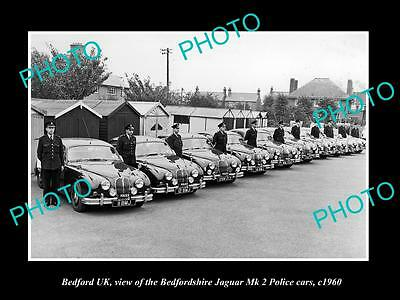 OLD LARGE HISTORIC PHOTO OF BEDFORD UK, BEDFORDSHIRE POLICE CARS, JAGUARS c1960