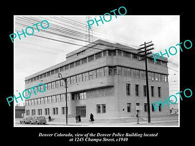 OLD LARGE HISTORIC PHOTO OF DENVER COLORADO, THE DENVER POLICE BUILDING c1940