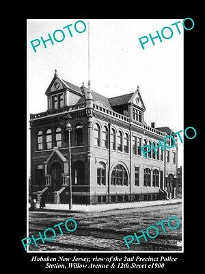 OLD LARGE HISTORIC PHOTO OF HOBOKEN NEW JERSEY 2nd PRECINCT POLICE STATION c1900