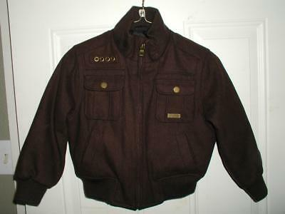 Boys Brown Wool Sean Jean Jacket Size 5 or Medium Ribbed Cuffs Quilted Lined