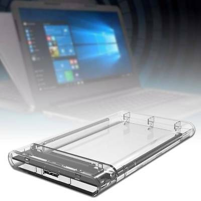 "SATA3 2.5"" HDD SSD UASP Transparent External Hard Drive Enclosure Disk Case FG"