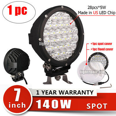 7inch 140W CREE LED Round Work Light Spot Driving offroad ATV Truck Head Lamp
