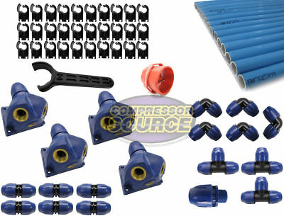 """Aircom Quick Line 100 ft 1"""" Compressed Air Aluminum Piping System Tubing Kit"""
