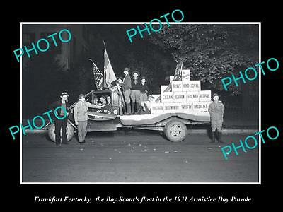 Old Large Historic Photo Of Frankfort Kentucky, The Boy Scouts Parade Float 1931