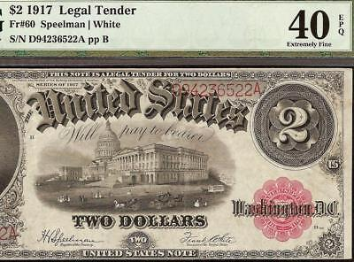 Large 1917 $2 Two Dollar Bill United States Legal Tender Note Money Pmg 40 Epq
