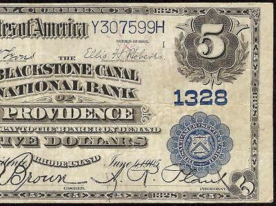 Large 1902 $5 Dollar Blackstone Canal National Bank Note Currency Rhode Island