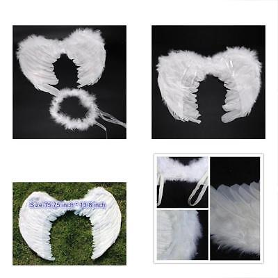 RUIZSH Angel Feather Wings And Halo Headband For Cosplay Party Costumes White