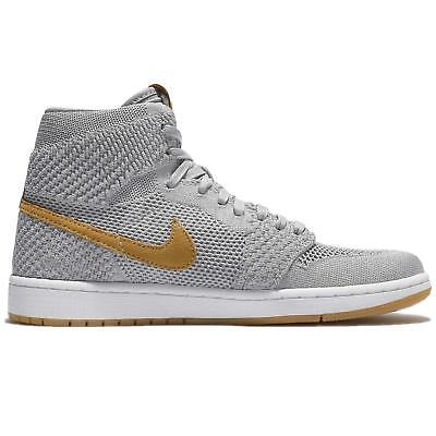 Nike Air Jordan 1 Retro Hi Flyknit Size 11 US Grey White Mens Shoes