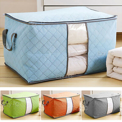 Clothes Quilt Blanket Storage Bag Charcoal Bamboo Organizer Box Foldable Zipper