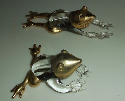 2 Small Crystal Glass FROG Figurines, Heavy Gold Paint heads & legs, ExC