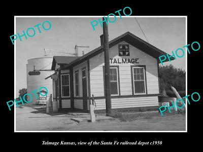 OLD LARGE HISTORIC PHOTO OF TALMAGE KANSAS, THE SANTA FE RAILROAD DEPOT c1950