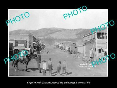 OLD LARGE HISTORIC PHOTO OF CRIPPLE CREEK COLORADO, THE MAIN ST & STORES c1890