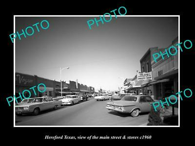 OLD LARGE HISTORIC PHOTO OF HEREFORD TEXAS, VIEW OF THE MAIN St & STORES c1960