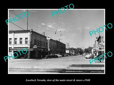 OLD LARGE HISTORIC PHOTO OF LOVELOCK NEVADA, THE MAIN STREET & STORES c1940