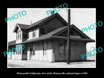 OLD LARGE HISTORIC PHOTO OF WATSONVILLE CALIFORNIA, THE RAILROAD DEPOT c1930