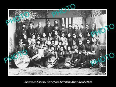 OLD LARGE HISTORIC PHOTO OF LAWRENCE KANSAS, THE SALVATION ARMY BAND c1900