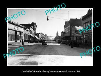 OLD LARGE HISTORIC PHOTO OF LEADVILLE COLORADO, THE MAIN STREET & STORES c1940