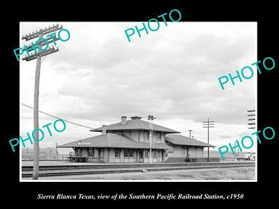 Old Large Historic Photo Of Sierra Blanca Texas, The Railroad Depot Station 1950