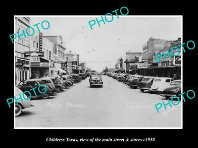 OLD LARGE HISTORIC PHOTO OF CHILDRESS TEXAS, VIEW OF THE MAIN ST & STORES c1950