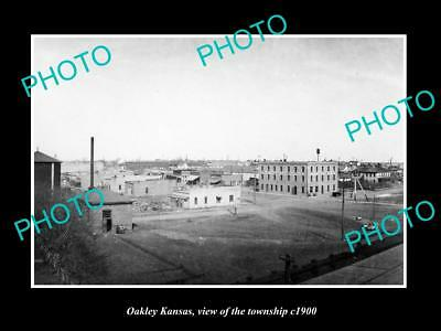 OLD LARGE HISTORIC PHOTO OF OAKLEY KANSAS, VIEW OF THE TOWNSHIP c1900