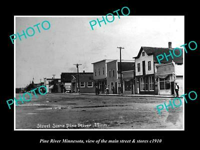OLD LARGE HISTORIC PHOTO OF PINE RIVER MINNESOTA, THE MAIN STREET & STORES c1910