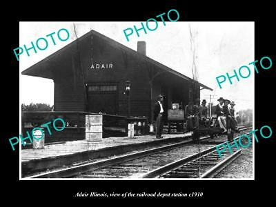 OLD LARGE HISTORIC PHOTO OF ADAIR ILLINOIS, THE RAILROAD DEPOT STATION c1910